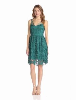Adrianna Papell Women's Sleeveless Illusion Body Party Dress at  Women�s Clothing store: Lace Party Dress