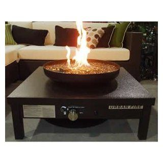 """Fire Pit Coffee Table in Bronze Powder Coated Steel with Bronze Crushed Glass (Bronze/Bronze) (36""""W x 16.5""""H x 36""""D) : Patio, Lawn & Garden"""