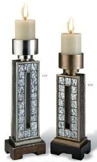 "Shop 14"" and 16"" Mirror Tiles Candle Holder Set with Silver and Gold Finish at the  Home D�cor Store"
