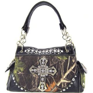 Soft Velvety Camouflage Rhinestone Cross Satchel Purse Black Trim (Black) Top Handle Handbags Shoes