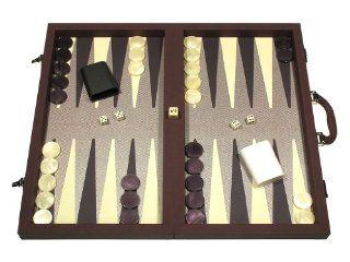 Composite Fiber/Leatherette Backgammon Set   (Dal Negro Board Game, Attache Case)   Bordeaux: Toys & Games