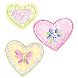Wallies 12215 Pastel Hearts Wallpaper Cutout   Wall Decor Stickers