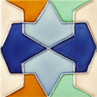 Solistone Hand Painted Deco Conos 6 x 6 Inch Ceramic Kitchen Backsplash Wall Tile (2.5 Sq. Ft./Case)