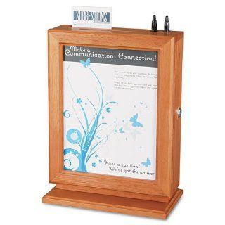 Safco Customizable Wood Suggestion Box 10 1/2 X 13 X 5 3/4 Cherry With Glass Panel Office