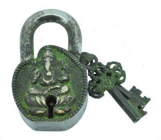 Handmade Ganesh Ganesha Lord of Success Tibetan Monastery Padlock, Tibetan Mantra Prayer Padlock