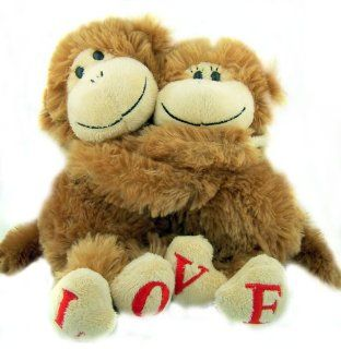 "Valentines Day Romantic Gift for Him and Her Hugging ""LOVE"" Feet Monkey Pair Soft Plush Stuffed Toy Animal Toys & Games"