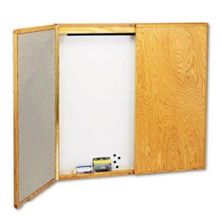Quartet 853 Cabinet 48 by 48 by 24 Inch, Fabric/Dry Erase/Porcelain/Steel, White/Oak Frame   Dry Erase Boards