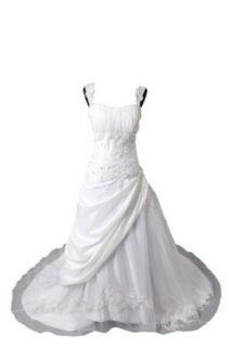 Winey Bridal White A line Organza Taffeta Church Lace up Wedding Dresses at  Women�s Clothing store