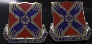 877th ENGR BATALLION Distinctive Unit Insignia   Pair Military Apparel Accessories Clothing