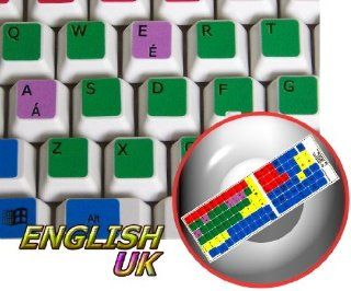 LEARNING ENGLISH UK COLORED PC KEYBOARD STICKERS (DESKTOP, LAPTOP AND NOTEBOOK): Computers & Accessories