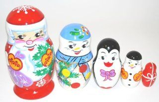 Authentic Russian Hand Ctafted & Hand Painted Wooden Santa Artist Signed Christmas Unique Gift Toys & Games