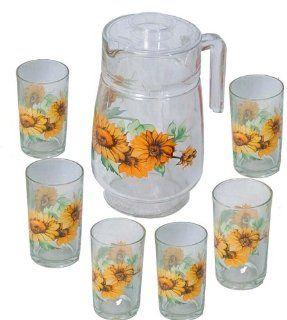 7 Pcs Glass Drinking Set   Sunflower Design (Item #70 883) Kitchen & Dining