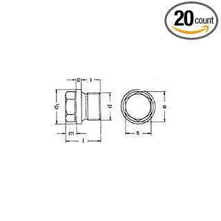 (20pcs) Metric DIN 910 M20X1.5 Hex Pipe Plug With Straight Thread Steel   Plain Finish Ships Free in USA Industrial Pipe Fittings Industrial & Scientific