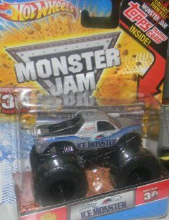 HOT WHEELS MONSTER JAM 30TH ANNIVERSARY GRAVE DIGGER EDITION ICE MONSTER TRUCK WITH TOPPS TRADING CARD   HARD TO FIND