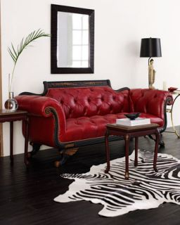 Red Tufted Leather Sofa   Old Hickory Tannery