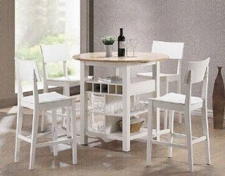 5pcs White & Natural Counter Height Dining Table & Bar Stools Set   Dining Room Furniture Sets