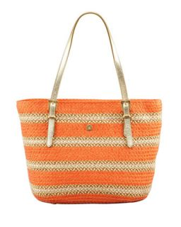 Jav Striped Squishee Tote Bag, Tangerine   Eric Javits