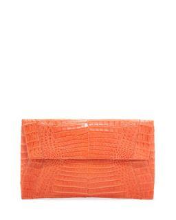 Small Soft Crocodile Flap Clutch Bag, Orange   Nancy Gonzalez