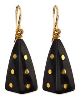 Doa Dark Horn Pyramid Dot Earrings   Ashley Pittman