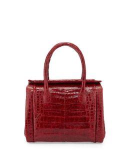 Crocodile Small Satchel Bag, Red   Nancy Gonzalez