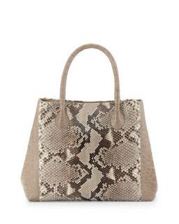 Small Python & Crocodile Tote Bag, Natural/Sand   Nancy Gonzalez