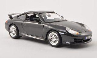 Porsche 911 (996) GT3, met. dark grey , 1997, Model Car, Ready made, Bburago 118 Bburago Toys & Games