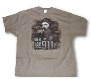 "Duck Dynasty Tee Mens ""Where I Live I Am 9 1 1"" Phil 911 T Shirt, Tan, XL (X Large): Movie And Tv Fan T Shirts: Clothing"