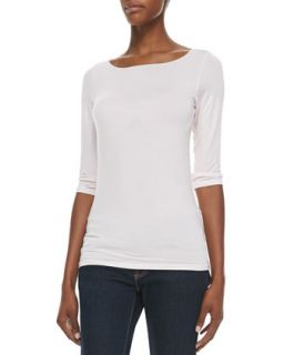 Womens Soft Touch Marrow Edge 3/4 Sleeve Boat Neck Tee   Majestic Paris for