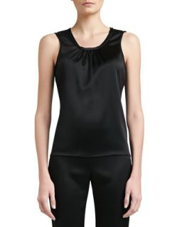 Womens Liquid Satin Gathered Scoop Neck Shell with Merrowed Edge Trim   St.