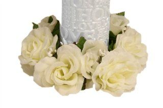 8 pcs Silk ROSES Flowers Candle Rings Wedding Centerpieces   Ivory   Party Decorations