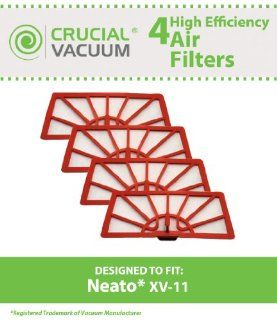 4 Neato XV 11 Air Filters Fits Neato XV 11 XV11 All Floor Robotic Vacuum Cleaner System; Compare to Neato Filter Part #945 0004 (9450004); Designed & Engineered by Crucial Vacuum   Household Vacuum Filters Upright