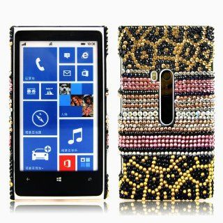 Mavis's Diary Crystal Rhinstone Stripe (Pink, White, Gold) Diamond Design Case Black Cover for Nokia Lumia 920 with Soft Cleaning Cloth: Cell Phones & Accessories