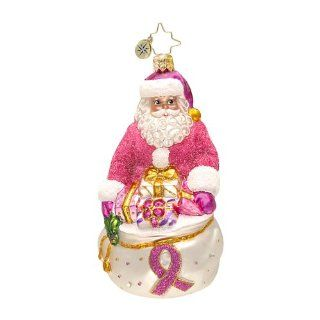 RADKO THINK PINK NICK Santa Breast Cancer Christmas Glass Ornament   Christmas Ball Ornaments