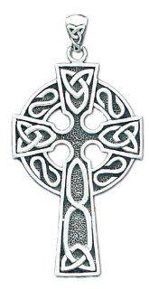 0.925 Sterling Silver Irish Celtic Cross Pendent Charm Jewelry