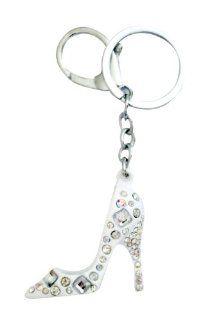 White High Heel Shoe w/ Bling Design Purse Bag Chrome Metal Crystals Key Chain   Clear & Aurore Boreale Automotive