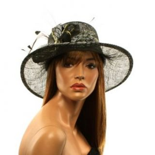Derby Animal Print Ribbon Crystal Gold Feathers Bucket Bell Church Hat Cap Black