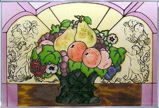 Fruit Basket Horizontal Art Glass Panel 14 x 20   Stained Glass Window Panels