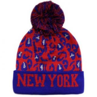 City Hunter Sk950 Leopard New York Pom Beanie   Royal/red at  Men�s Clothing store