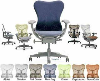 Deluxe Mirra Herman Miller Office Desk Chair Highly Adjustable with Forward Tilt Seat Angle and Latitude Fabric Cover   Blue Fog   Mirra Chair