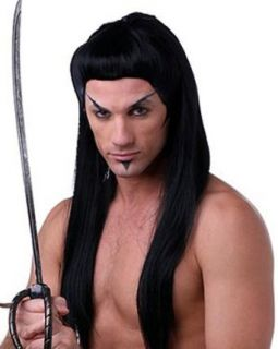 Adult Black Samurai Costume Wig: Clothing