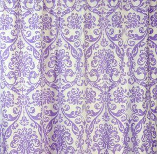 Lavender Purple and White Damask Drape with Blackout Lining, One Grommet Top Curtain Panel 108 inches long x 50 inches wide   Item Type Keyword Window Treatment Curtains Or Window Treatment Draperies