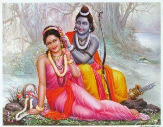 Lord Rama / Shree Ram and Seeta / God Rama and Sita Poster (Size: 11X9 Inches Unframed)   Prints