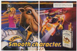 1989 Camel Cigarette Race Car Driver Joe Camel Smooth Character 2 Page Print Ad