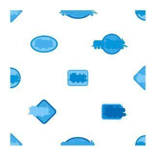 York Wallcoverings ZB3287 Thomas Icons Wallpaper, White/Light Blue/Dark Blue