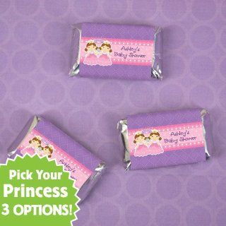 Twin Princesses   20 Personalized Mini Candy Bar Wrapper Sticker Labels Baby Shower Favors: Toys & Games