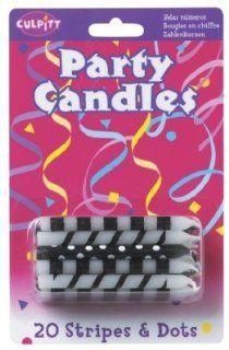 BLACK White STRIPES Spiral ZEBRA Polka DOT (20) BIRTHDAY Cake Party CANDLES: Health & Personal Care