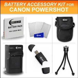 Clearmax Accessories Kit for Canon Powershot Elph 100 HS, Elph 300 HS, Elph 310 HS Digital Camera Includes Extended Replacement NB 4L Battery + Ac/dc Travel Charger + Mini Tripod + USB 2.0 Card Reader + Case + LCD Screen Protectors : Camera & Photo