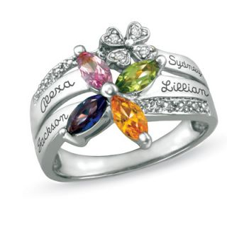 Sterling Silver Family Birthstone Flower Ring with Cubic Zirconia
