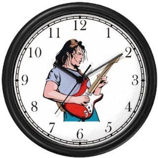 Shop Famous Rock & Roll Star Musician Playing Guitar Wall Clock by WatchBuddy Timepieces (Black Frame) at the  Home D�cor Store