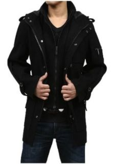 GST Woolen Coat Hooded Winter Trench Coat Men at  Men�s Clothing store